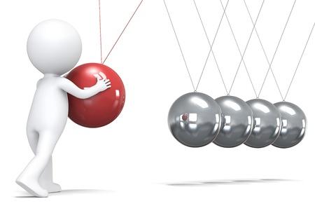 pendulum: 3D little human character pushing a ball in pendulum. People series. Stock Photo