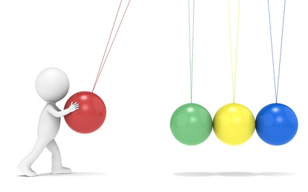 3D little human character with Newtons Cradle. Side view. People series. Stock Photo - 16441787
