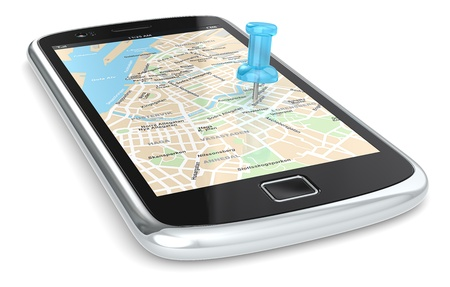 gps: Black Smartphone with a GPS map. Blue Pushpin.  Stock Photo