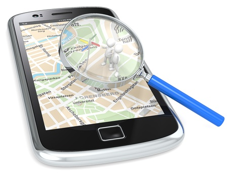 gps  map: Black Smartphone with a GPS map and 3D people looking at Road Sign. Magnifying Glass. Stock Photo