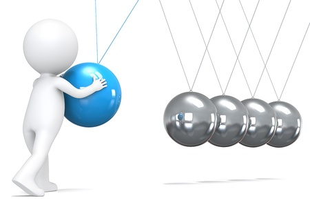 3D little human character pushing a Blue ball in pendulum. People series. photo