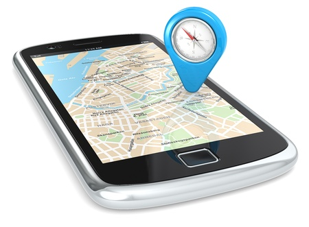 gps  map: Black Smartphone. GPS map and an Abstract Pointer Icon with Compass. Stock Photo
