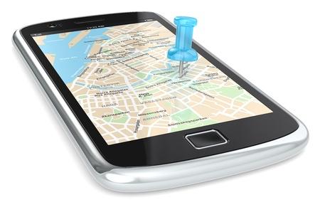 tour guide: Smartphone negro con un mapa del GPS. Chincheta azul.
