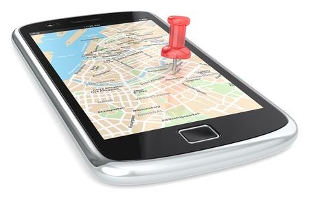 guia de turismo: Smartphone negro con un mapa del GPS. Red chincheta.