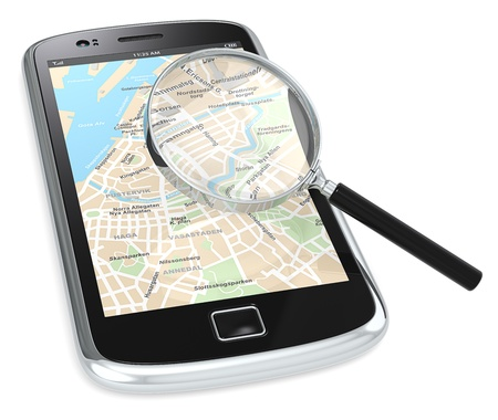 gps navigation: Black Smartphone with a GPS map and a Magnifying Glass.