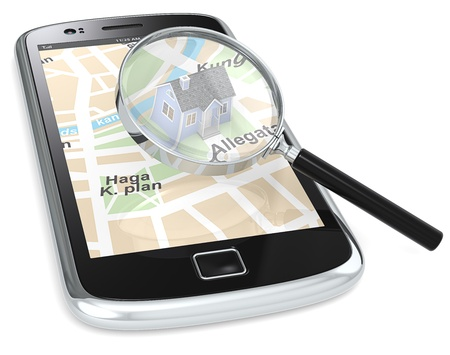 Black Smartphone with a GPS map with a 3D house and a Magnifying Glass. photo