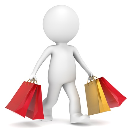 3D little human character carrying Christmas Shopping Bags. Red and Gold. People series. Stock Photo - 16497986