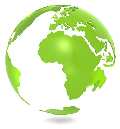 Abstract 3d Green Earth model. Isolated.  photo