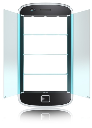 Abstract Smartphone with doors and shelves of Frosted Glass. Open. Isolated. photo