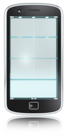 Abstract Smartphone with doors and shelves of Frosted Glass. Closed. Isolated. photo