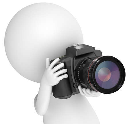 3D little human character The Photographer with a SLR Camera. Close up. People series. Banco de Imagens