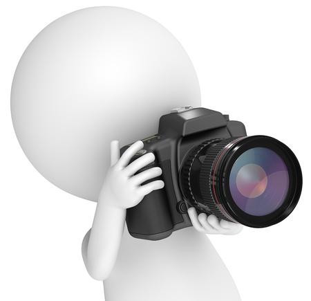 charakter: 3D malý lidský charakter Fotograf s zrcadlovku. Zblízka. Lidé série.