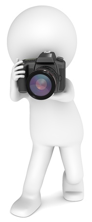 3D little human character The Photographer with a SLR Camera. Standing. People series. photo