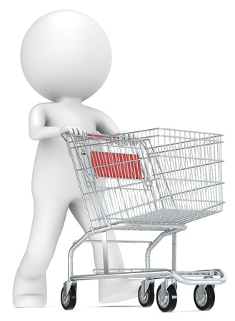 3D little human character with pushing a Shopping Trolley  Red  People series Stock Photo - 16834320