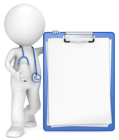 diagnostics: 3D little human character The Doctor with a Clipboard  Blue and Blank for Copy Space People series