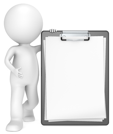 clipboard: 3D little human character with a Classic Black Clipboard  Blank Paper for Copy Space  People series  Stock Photo