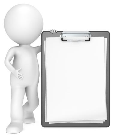 portapapeles: 3D peque�o personaje humano con un papel en blanco Portapapeles Classic Negro para Espacio en blanco Personas series