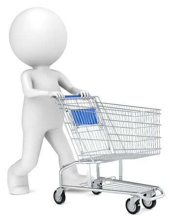 3D little human character with pushing a Shopping Trolley  Blue side view  People series  photo