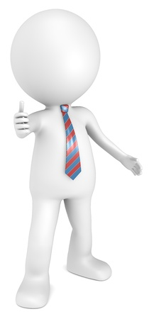 3d character: 3D little human character The Boss showing thumbs up. Red and Blue tie. People series. Stock Photo