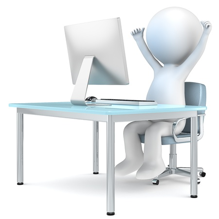 3D little human character sitting by computer screen with arms up  People series Stock Photo - 16878873