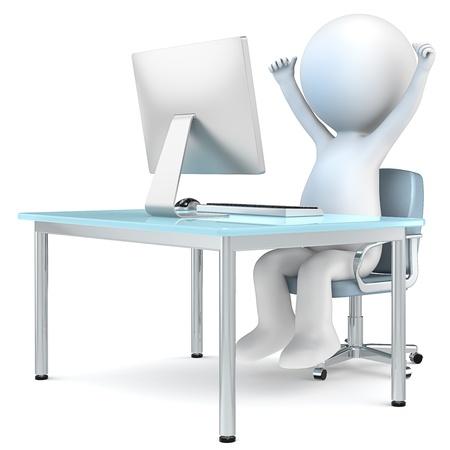 charakter: 3D malý lidský charakter sedí u monitoru počítače s rukama nahoru Lidé série Reklamní fotografie
