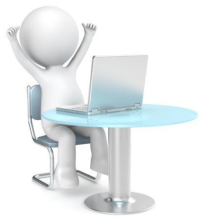 figuras abstractas: 3D poco car�cter humano que se sienta con los brazos en frente de una serie Laptop personas Foto de archivo