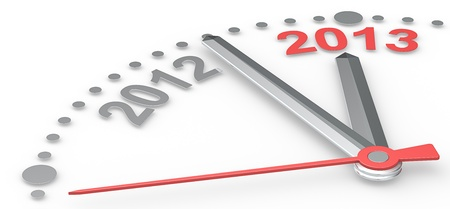Abstract clock counting down from 2012 to 2013  Red theme color Stock Photo - 16976082