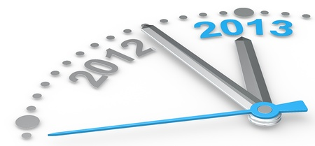 Abstract clock counting down from 2012 to 2013  Blue theme color   photo
