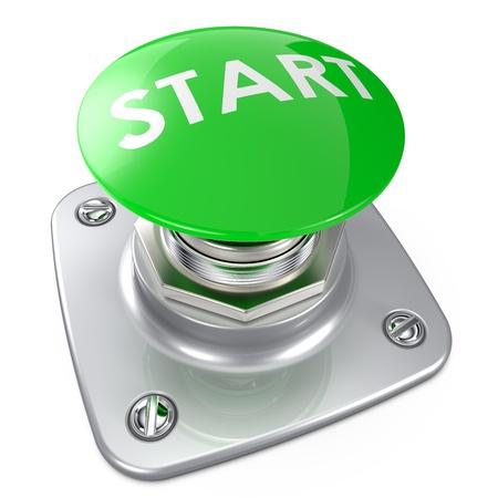 시작: 녹색 시작 단추 스톡 사진