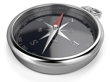 magnetic north: Compass  Metal compass, black dial