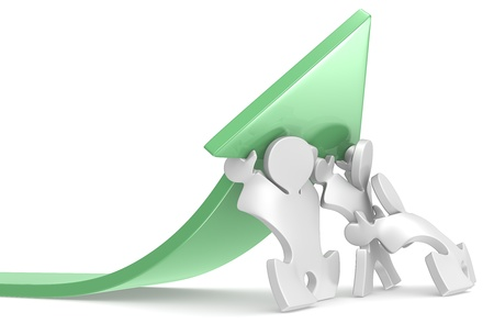 Growth  Team of Puzzle People pushing an Arrow  Green Stock Photo - 19113285
