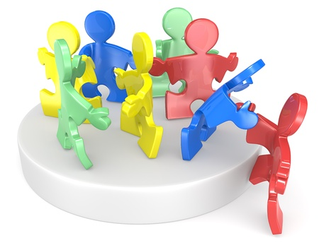 hire: Puzzle People helping new people to join  Multi Color  Stock Photo