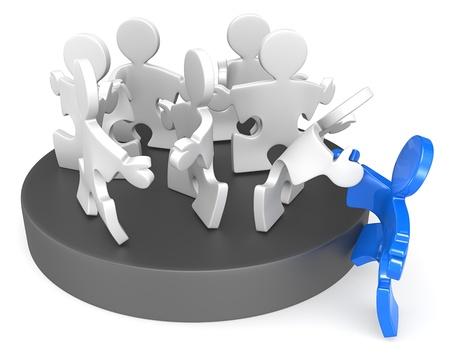 Mitgliedschaft Puzzle Menschen, die sich neue Mitglied Blau