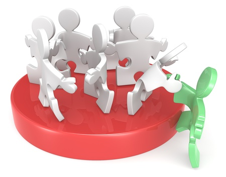 Puzzle People team recruiting new member  Red and green  Stock Photo - 19148629