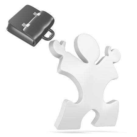 black briefcase: Puzzle gente saltando de alegr�a malet�n Negro