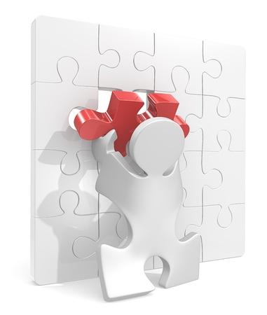Puzzle Menschen setzen letzte Stück im Puzzle-Wand Red Stück Standard-Bild