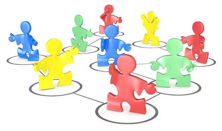 multi colour: Puzzle La gente en una red social Multi Color