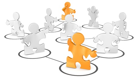 SEO  Puzzle People in a network  Orange Stock Photo - 19113306