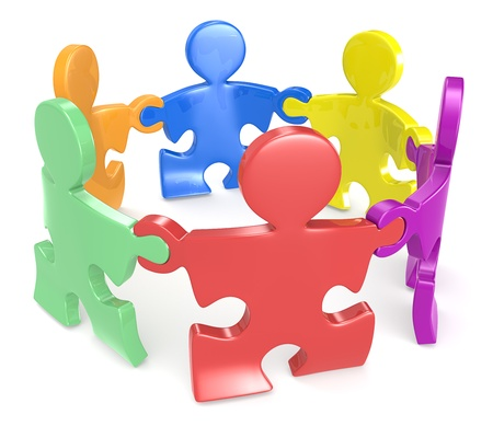 Puzzle People x6 holding hands in circle  Multi color Stock Photo - 19148632