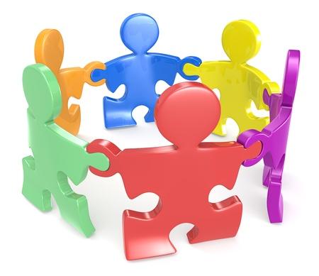 sinergia: Puzzle People x6 tomados de la mano en el círculo multicolor