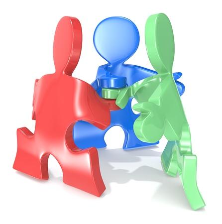 coincidir: Puzzle x3 en un equipo de personas plantean Rojo, verde y azul Foto de archivo