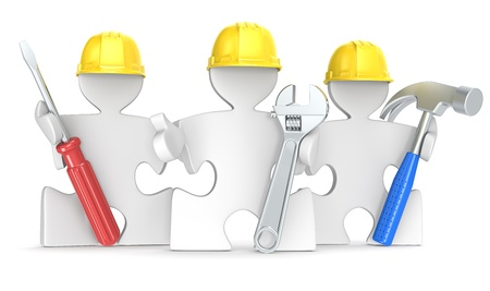 Puzzle People the Builders x 3 with tools  photo