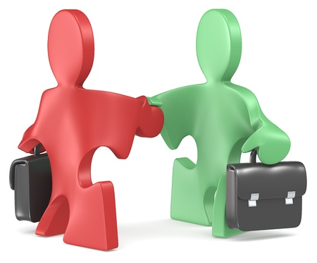 Puzzle People x 2 with briefcase shaking hands  Red and green  Stock Photo - 19148620