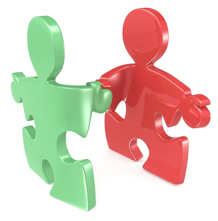 Puzzle People shaking hands. Green and Red. Stock Photo - 19148611
