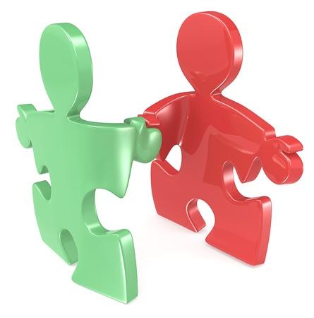 pacto: Puzzle personas dándose la mano. Verde y rojo.