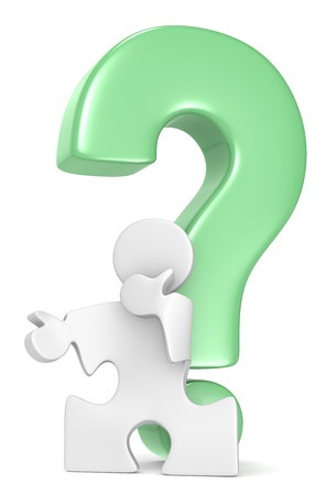 Question Mark. Puzzle People infront of Question Mark. Green. Stock Photo - 19113295