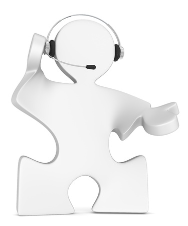 Solution. Puzzle People with headset. White. Stock Photo - 19141649