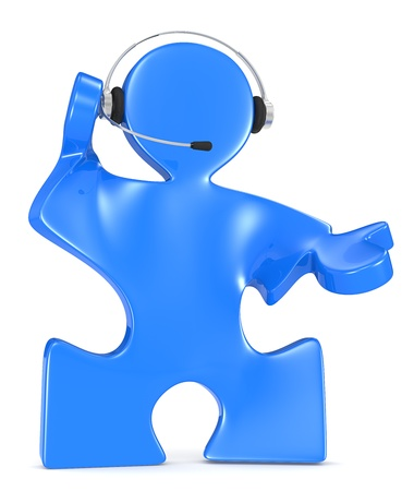 Puzzle People with headset. Blue. Stock Photo - 19141650