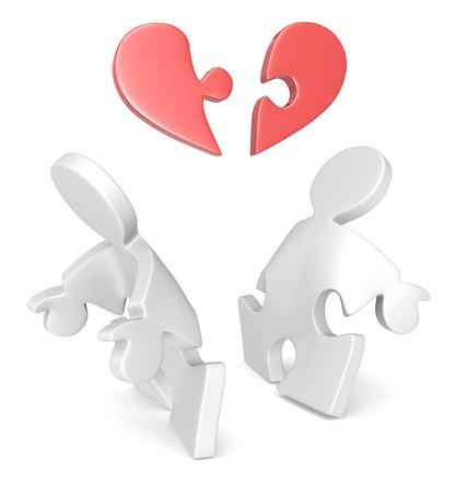 heart under: Broken Heart  Puzzle People x 2 separate under Broken red Heart