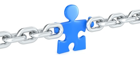 missing link: Management. Puzzle people holding Chain Link. Blue.